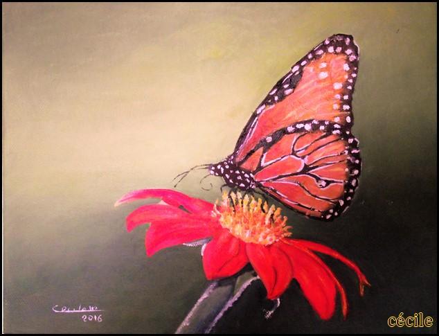 Papillon : Le monarque..pour changer de l'aquarelle une petite huile 24 X 30 cm